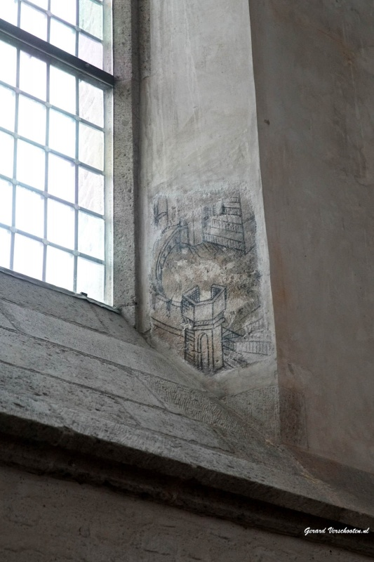 Gerestaureerde tekeningen muurschilderingen in Stevenskerk. Nijmegen, 16-12-2015 .