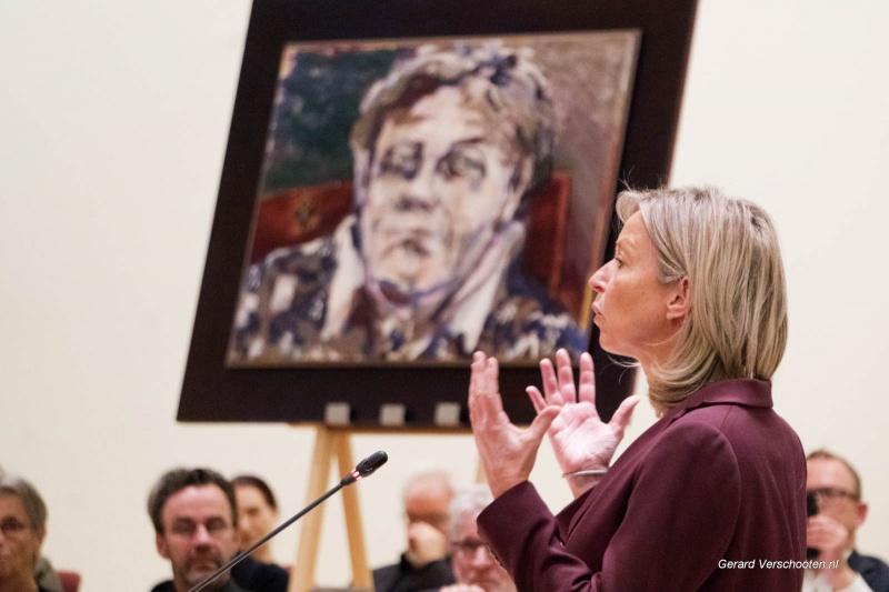 Minister van binnenlandse zaken Kaja Ollengren spreekt de Ien Dales lezing uit. gemeemtehuis . Nijmegen, 2-2-2018 .
