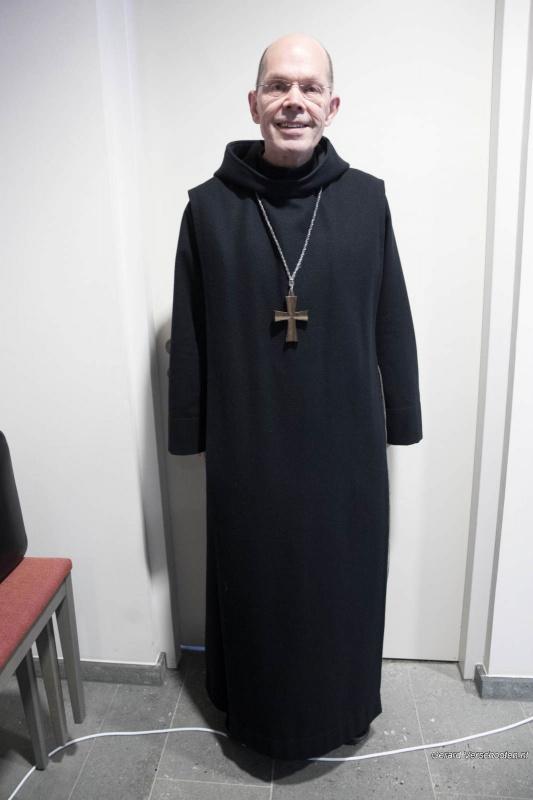 In klooster Brakkenstein geeft Abt Ad Lenglet van Abdij Sint-Benedictusberg uit Vaals een lezing: hoe leer je bidden. Nijmegen, 3-2-2018 .