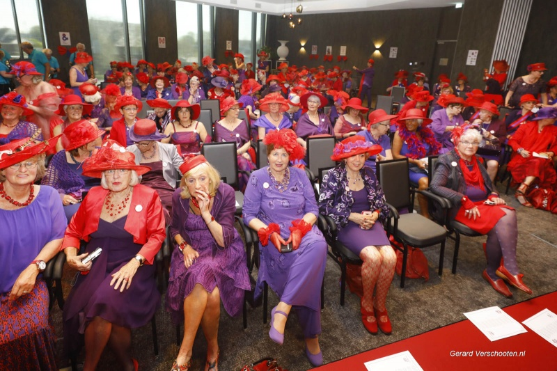 Red hat society, rode hoedjes conventie in vd Valkhotel. Nijmegen, 19-4-2018 .