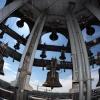 Het carillon in de Stevenskerk en de beiaardier Malgosia Fiebig. Nijmegen, 27-5-2013 . dgfoto.