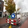 Stoom, stoomvorming vooraan in de Hertogstraat. reinigen riool. Nijmegen, 16-10-2013 . dgfoto.