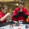 Doet ie  het... JAAAA...In het Technovium bouwen kinderen van Lego allerlei robots en apparatuur die in staat moeten zijn om zelfstandig te werken tijdens een natuurramp. Dat is het thema van deze Legobouwwedstrijd die ook in Benelux verband wordt gestreden. Nijmegen, 15-12-2013 . dgfoto.