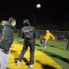 Allochtone, voornamelijk Marokkaanse jongeren voetballen onder aanvoering van straatcoaches op de Cruyff court aan de Genestetlaan, In het Willemskwartier is veel overlast door joneren. Nijmegen, 16-1-2014 . dgfoto.