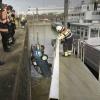 Auto te water in de Waalhaven. Nijmegen, 27-2-2014 . dgfoto.