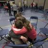 Challenge Day OBC Huissen. Jongeren huggen elkaar, troosten. Huissen, 29-1-2014 . dgfoto.