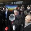 Leden van diverse college's van de gemeente en van de universiteit doen aangifte tegen Wilders op het politiebureau . Nijmegen, 25-3-2014 . dgfoto.