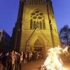 Paasvuur, paaswake en aansteken paaskaars bij de Maria Geboortekerk aan de Berg en Dalseweg. Nijmegen, 21-4-2014 . dgfoto.