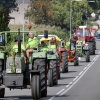 intocht van de tractorvierdaagse. Zo'n 65 tractors verzamelen bij de Canadese begraafplaarts en vertrekken dan om ca. 16.30 uur in colonne over Derdebaan, Wylerbaan en Molenwe, Groesbeek, 24-7-2014 . dgfoto.