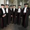 Rectorwissel, RUN, Stevenskerk. 6 oud op een rij, Blom, Plesschaert, Giesbers, van Els, Kortman, Engelen.. Nijmegen, 17-10-2014 . dgfoto.