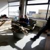 Honigcomplex, stand van zaken bij de Smeltkroes, leer, hout, kunst, studio. Nijmegen, 10-3-2015 . dgfoto.