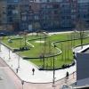 Gebouwen vanaf dak Mercure hotel. Blastingkantoor, Doornroosje, de Oversteek, NS station, Energiecentrale, Metterswane. Nijmegen, 11-4-2016 .