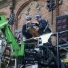 Verwijderen beelden Latijnse school voo rreparatie. Nijmegen, 16-12-2015 .