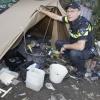 agent Jan Jacobs, die zich alleen maar bezighoudt met de 'zorgmijders': verwarde personen, dak- en thuislozen . Nijmegen, 4-10-2016 .