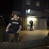 Burgerwacht Nijmegen Rechtsaf 'beschermt' pinautomaten n.a.v. overvallengolf  onder leiding van (herkenbare)Michael van den Bergh, Hatertseweg  . Nijmegen, 22-2-2018 .