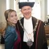 de Vrede van Nijmegen Penning wordt uitgereikt aan Paul Polman, CEO van Unilever, st Stevenskerk met o.a. burgemeester Bruls, Ren? ten Bos, Sigrid Kaag, Evelien Asberg. Nijmegen, 5-4-2018 .