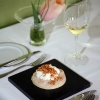 """""""Chef Ysbrandt Wermenbol aan het werk, Restaurant Le Marron, gerecht: Ganzenlever, coquilles, yoghurtschuim, aardappelschilfers"""""""