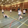 "\""Meisjeszaalvoetbalteam Chabbab , Team traint in de gymzaal van de SSgN\"""